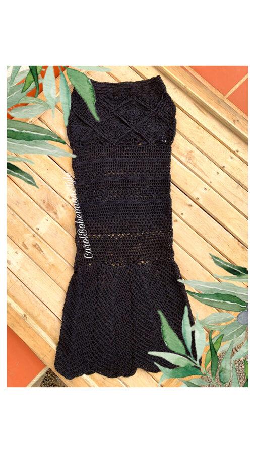 Falda Crochet Larga Negra