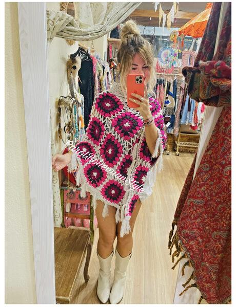 Poncho Crochet gris