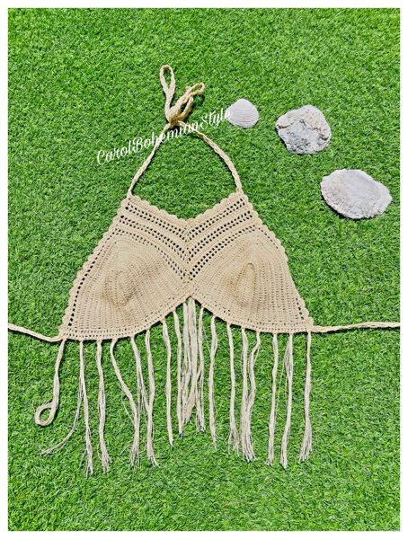 Top Crochet Flecos Beige