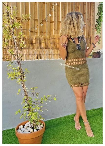 Vestido Gypsy Crochet Kaki