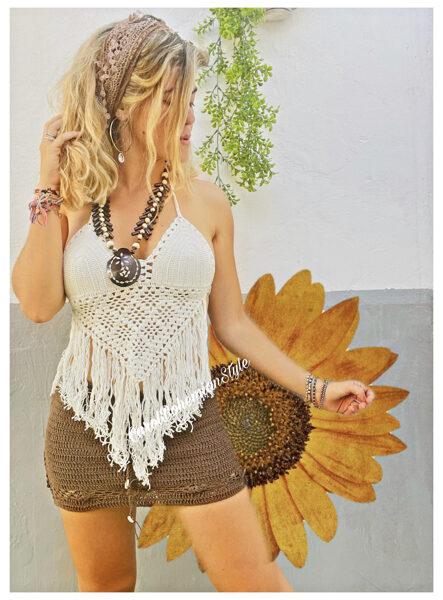 Top Gypsy Crochet Blanco
