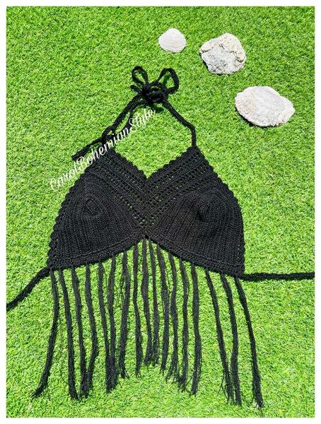 Top Crochet Negro Flecos