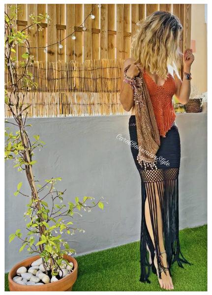 Falda Flecos Crochet