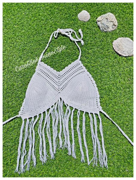 Top Crochet Blanco Flecos